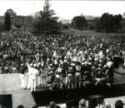 The football team at the Homecoming Pep Rally on Central Campus, 1977