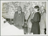 Earl O. Heady viewing research  equipment in Hungary, 1979