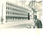 Man across from Biology Building, the University of Iowa, 1965
