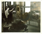 Engineering student working with high voltage equipment in a laboratory, The University of Iowa, 1939