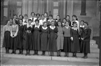 UP679 Twenty four girls and teacher on Burlington High School steps