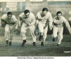 Iowa football players Frank Balazs,  Robert Kelley, Edwin McLain and Russell Busk, The University of Iowa, 1938?