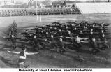 Military company physical exercise on Iowa Field, The University of Iowa, 1919