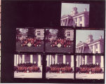 Scottish Highlanders posed by Old Capitol, The University of Iowa, 1975