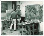 Art student painting, The University of Iowa, 1950s