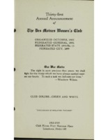 Thirty-first Annual Announcement of The Des Moines Women's Club. (1918-1919 Yearbook)