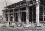 South view of the 3rd library addition construction,  1981