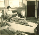 Toddlers stacking blocks of wood, The University of Iowa, January 12, 1938