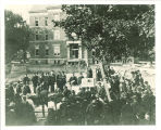 Laying of cornerstone for Macbride Hall with Calvin Hall in background, The University of Iowa, 1904
