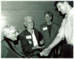Louise Noun, Mary Louise Smith, and Shelia Creth at the Iowa Women's Archives opening symposium, Iowa City, Iowa, October 28, 1992