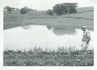 Harold Shold at Marshall farm pond, 1967