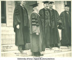 Incoming University President Eugene Gilmore and other University officials on Inauguration Day, The University of Iowa, October 4, 1934