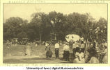 People watching hot air balloon launches, The University of Iowa, 1912