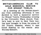 British-American Club to hold memorial service for Ernest Tomlin